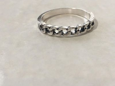 Antiqued Silver Chain Band Ring Size 8.5
