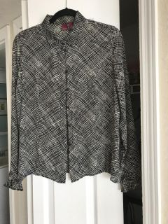 Black and white long sleeved 100% silk blouse