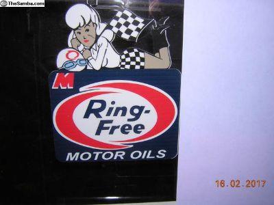 RING FREE OIL qtr window sticker