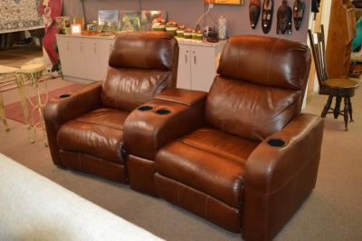 Power Reclining Theater Seats with cup holders All leather