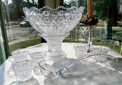 20's Antique Glass Punchbowl