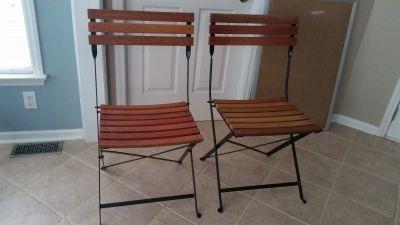 Folding metal/wood chairs