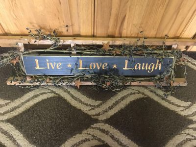 Cute Country ladder sign with black berries around it. Cross posted 32x9