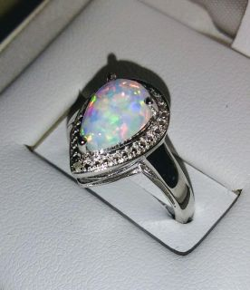 Opal With Cubic Zirconia Sterling Silver Ring