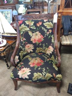 Fairfield Carved Wood Upholstered Chair (2 available) @ Brass Bear 2652 Valleydale Rd Birmingham Hoover area AL 35244