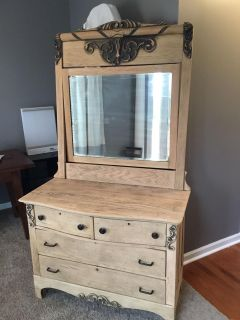 Old Time Solid Wooden Dresser with Mirror
