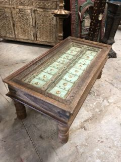Antique Wood Coffee Table Hand Carving Rectangle Cocktail Tea Table