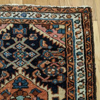 Vintage Persian Rug 2' 1 x 2' 8 Blue Hamedan