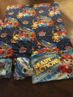 Gifting paw patrol twin bedding set and poster $35 OBO blanket is double sided