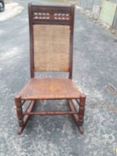 ANTIQUE WALNUT ROCKING CHAIR WITH WOVEN SEAT & BACK