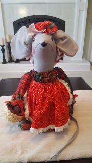 """Sweet Vintage 17"""" Fabric Christmas Mouse with Wicker Basket of Yellow Cheese!"""