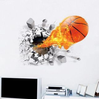 Large 3-D Basketball Removable Vinyl Wall Decor. NEW