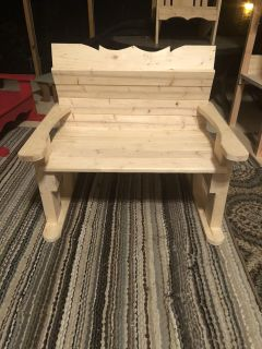 NEW HANDMADE WOOD DOUBLE WIDE SITTING BENCH WITH BACK PICK UP WEST MOBILE DAWES RD ONLY 30.00