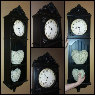 Large beautiful wood clock with shelves