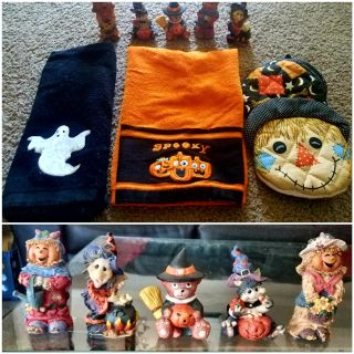 HALLOWEEN SET. 2 towels/1 POTHOLDER/5 FIGURINES. PRICE FOR ALL