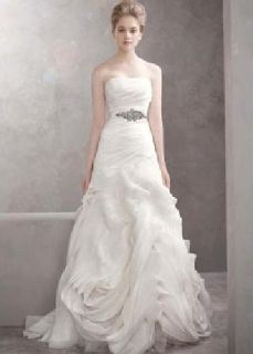 $800 OBO White by Vera Wang (Organza Fit and Flare Gown with Bias Flange Skirt Style)