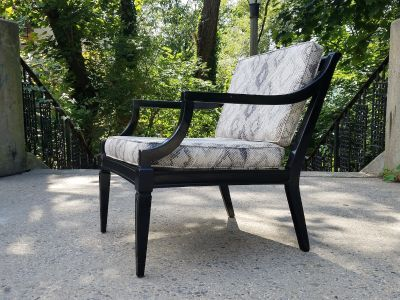 1960s Modernist Ebonized Walnut Lounge Chair