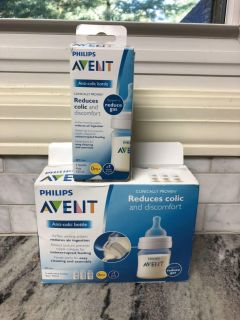 NEW in box Avent 4oz anti-colic baby bottles ($17.99 for 3pk at Target) $3 for single/$8 for 3pk/$11 for all