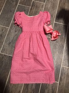 Antique looking dress with oversized bow, size 5