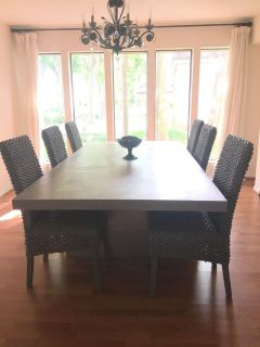Custom Dining Table & 6 great rattan chairs