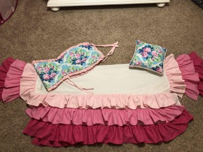 Caden Lane crib skirt, rail protector and decorative pillow