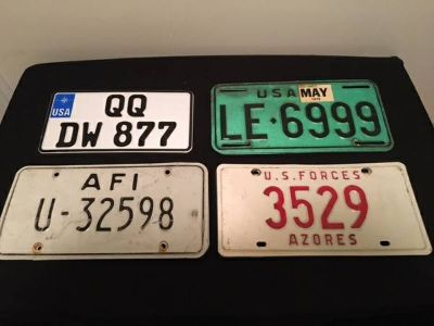 US military overseas license plates - 4 sets of matching plates