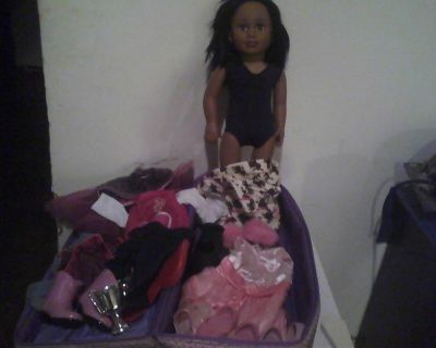 "TollyTots 18"" Doll Dark skin with 18 total items!"