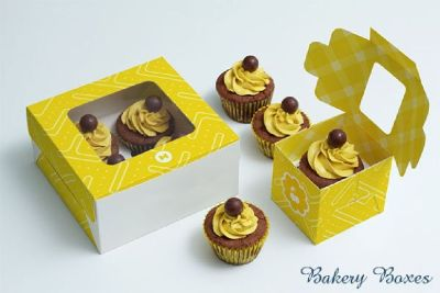 Cake boxes with self-lock style and window cuts are perfect