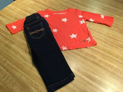 ADORABLE stretch 5 pocket NEW Jordache jeans paired with baby