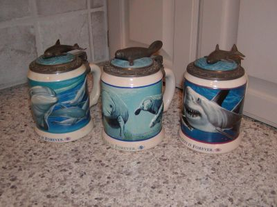 Anheuser Busch DOLPHIN MANATEE GREAT WHITE SHARK Heavy Ceramic Lidded Steins Mugs - Extinction Is Forever