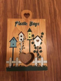 Plastic grocery bag storage wooden box