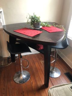 Noah Chocolate Bar Height Dinning Table plus 2 bar stools