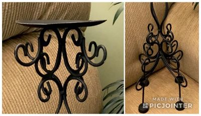 """Very Tall Black Iron Candle Holder. (Shown top and bottom) 18"""" tall"""