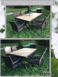 Beautiful 7 piece patio table set... in very good condition... pick up in Murfreesboro... possibly can deliver for gas money... $300