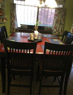 Pub style dining table & 6 chairs
