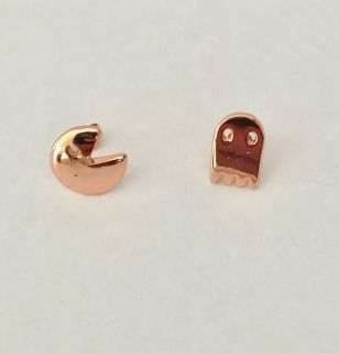 Rose Gold Plated Pac Man And Ghost Earrings