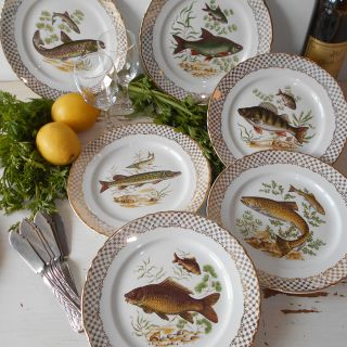 Six 1960's French Fish Plates 'Moulin des Loups'