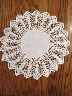 12 Vintage Linen and Shell Stitched Crocheted Lace Doily