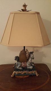 UNIQUE ZEBRA ACCENT TABLE LAMP. ALL HAND PAINTED