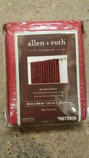 """Allen & Roth 84in """"Red"""" Back Tab Lined Curtain Panel"""