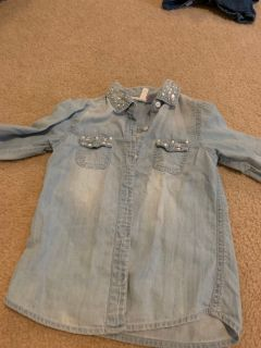 Justice soft blue jean shirt size 5/6
