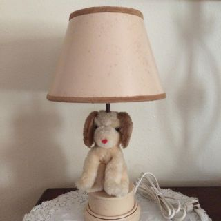 Vintage 18 in tall puppy lamp - lampshade has some spots of discoloration $9
