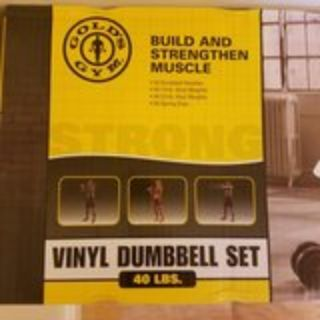 2-Golds Gym 40lb Vinyl Dumbell set + weights