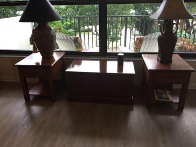 3 piece cherry wood coffee table with storage and 2 end tables with drawers,  good condition