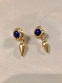 Gold tone, sapphire blue accent pierced earrings. Bought, Never worn