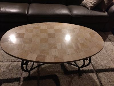 Marble oval coffee table and 2 end tables
