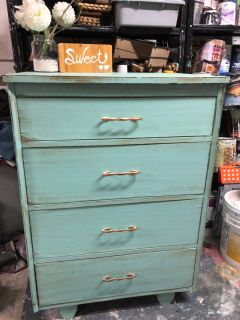 """GORGEOUS ANTIQUE Dresser with 4 drawers-30.5""""x42.5""""x19""""- refinished in turquoise with brown- Solid Wood-120$"""