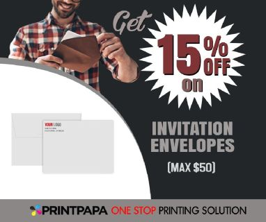 PrintPapa offer 15% discount (max $50) on Personalized Invitation Envelopes