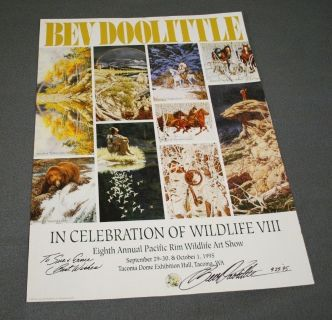 "Bev Doolittle's Only Poster ""A New Way Of Seeing"" Personally Hand Written ""To Sue & Ernie Best Wishes"" Hand Signed/Dated 9-29-95"