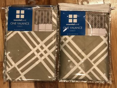2 tan/white window valances. Brand new. $10 for both. Minot pick up.